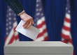 Leinwandbild Motiv Election in United States of America. Voter holds envelope in hand above vote ballot. USA flags in background. Democracy concept.