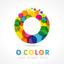 "Colored O Logo. Letter ""o"" Business Colorful Logo Vector Template. Ofice O Icon In Buble Color"