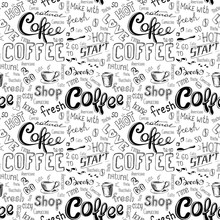 Seamless Doodle Coffee Pattern On White Background