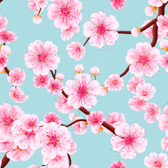 Panel Szklany Florystyczny Seamless of pink Sakura. EPS 10