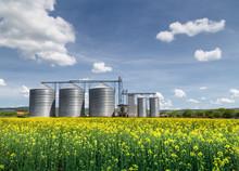 Grain Silo Over Blue Sky