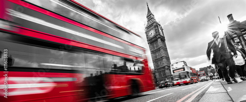 Foto op Canvas Londen rode bus Londons traffic