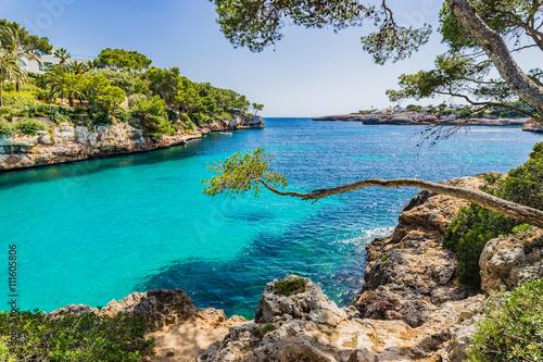 Canvas Idyllic view Mediterranean Sea Majorca Bay Cove