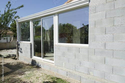 Photo véranda en chantier d'une maison