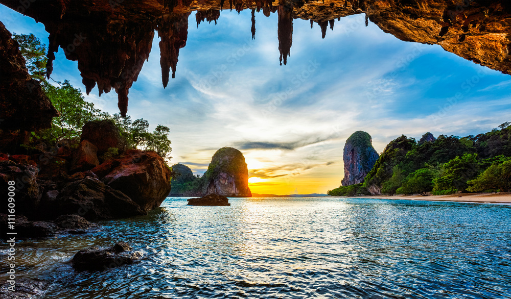Fototapeta Sunset on Pranang beach. Railay , Krabi Province Thailand