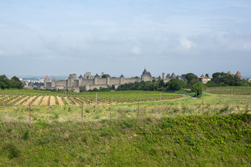 Fototapeta na wymiar Castle and city walls of Carcassonne