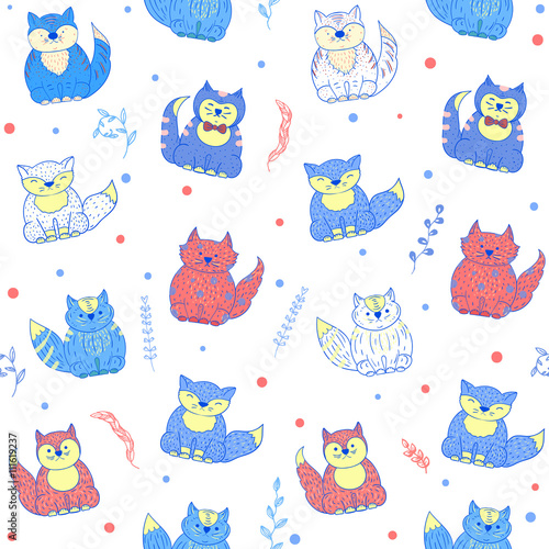 Poster Hibou Vector seamless pattern with cats.