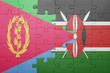 canvas print picture - puzzle with the national flag of kenya and eritrea.