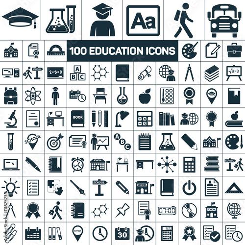 100 education school graduation icons set on white background