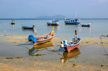 Long-tail Boats At Low Tide, P...