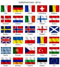 Set Di Bandiere Europee Vettoriali