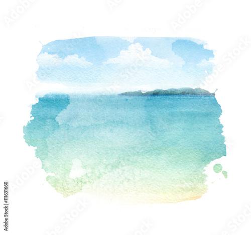 Akwareli ilustracja tropikalna plaża