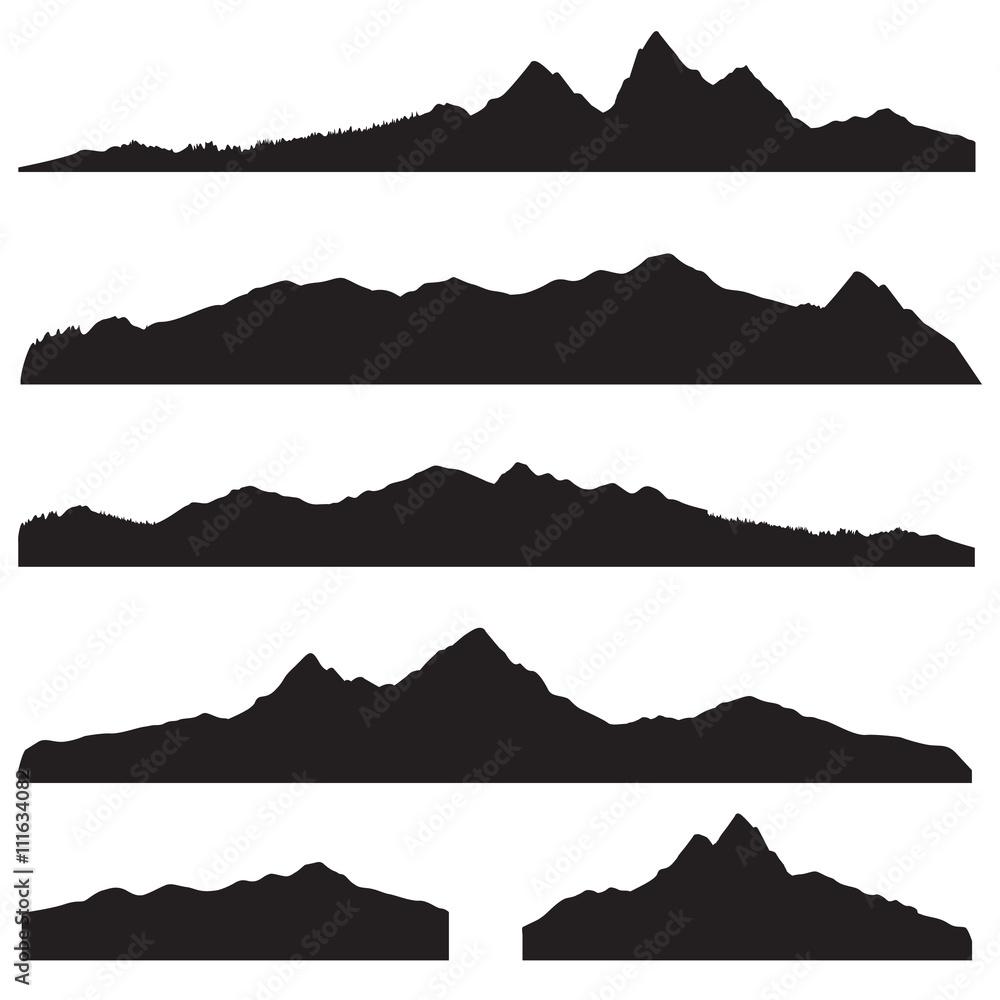 Fototapety, obrazy: Mountains landscape silhouette set. High mountain skyline border