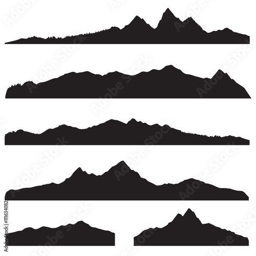 Zestaw sylwetka krajobraz gór. Wysoka granica panoramę gór