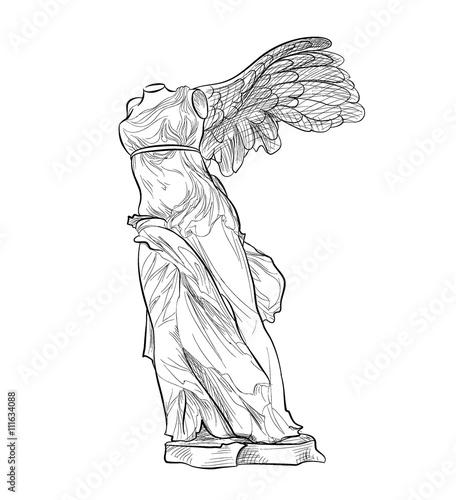 Fotografija  Greek famous Nike statue. Ancient Greece symbol