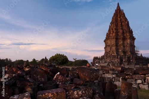 Foto op Plexiglas Indonesië Ruins of Prambanan Temple in Indonesia at sunset