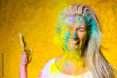 Girl with holi paints