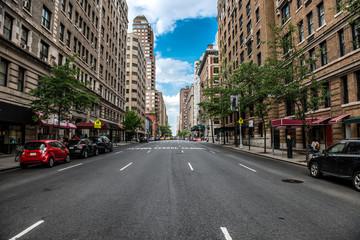 New York City Manhattan empty street at Midtown at sunny day