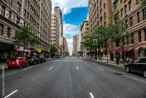 Staande foto New York TAXI New York City Manhattan empty street at Midtown at sunny day