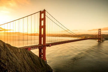 FototapetaGolden Gate Bridge in the morning famous landmark in San Francisco California USA