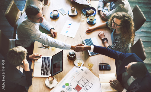 Obraz Business People Meeting Discussion Corporate Handshake Concept - fototapety do salonu