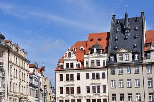 Photo Stands Häuser am Leipziger Marktplatz