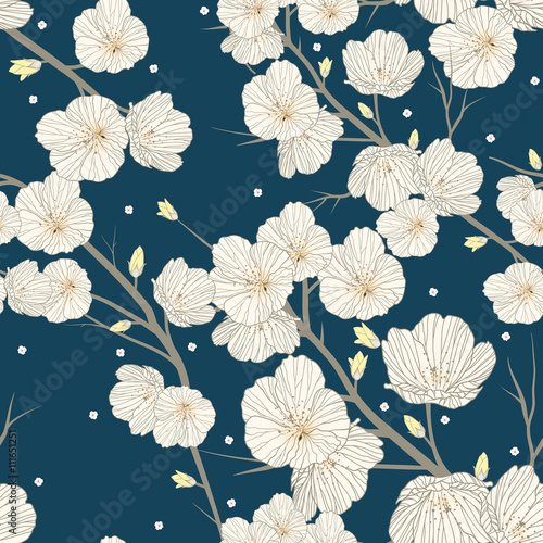 Spoed Foto op Canvas Kunstmatig Cherry blossom seamless pattern