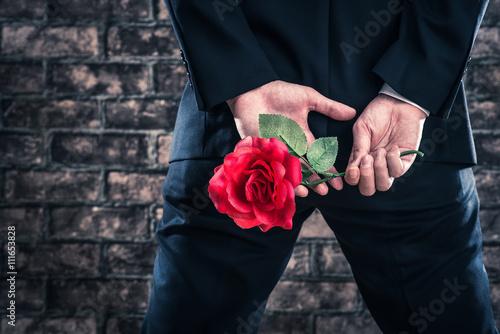 バラの花を持っているスーツの男性 Wallpaper Mural
