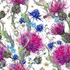 Obraz Summer watercolor seamless floral pattern with wild flowers