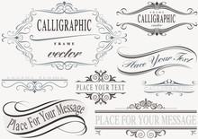 Typographic Calligraphic Frames - Design Elements Illustration, Vector