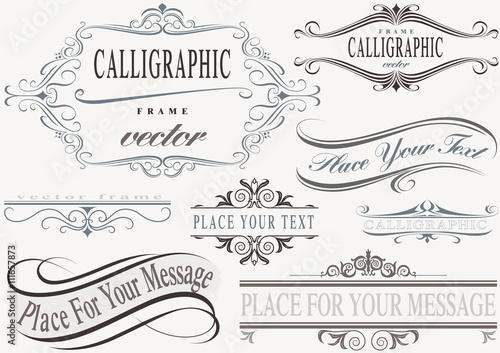Carta da parati Typographic Calligraphic Frames - Design Elements Illustration, Vector