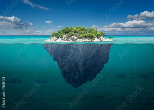 Wall Murals Island Beautiful solitude island with green trees in the ocean