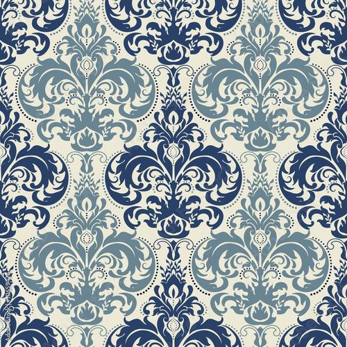 bez-szwu-wiktorianski-wzor-w-kolorze-niebieskim-i-bezowym