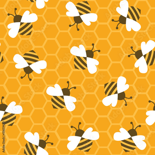 Cotton fabric Bee with honey. Seamless pattern. Vector illustration.