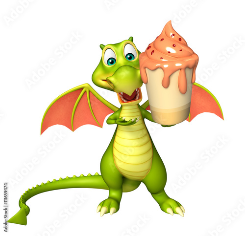 fun Dragon cartoon character  with ice cream Poster