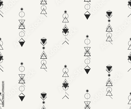 In de dag Abstractie Art Vector seamless pattern. Modern stylish monochrome illustration with outlined hipster symbols. Repeating background for fabric, wallpaper or wrapping paper.