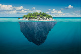 Fototapeta Morze - Idyllic solitude island with green trees in the ocean
