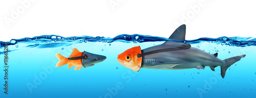 Fotografie, Obraz  Deception Concept - Disguise Between Shark And Goldfish