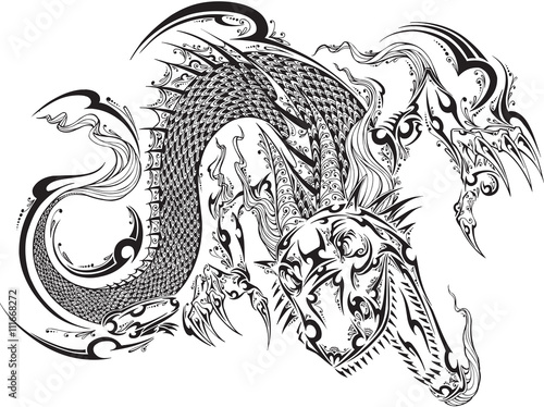 Poster Cartoon draw Dragon Doodle Sketch Tattoo Vector