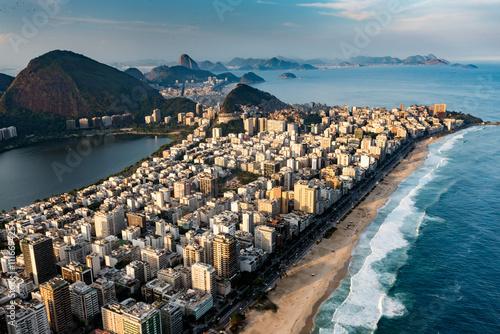 Canvastavla  Ipanema beach in Rio De Janeiro, aerial view