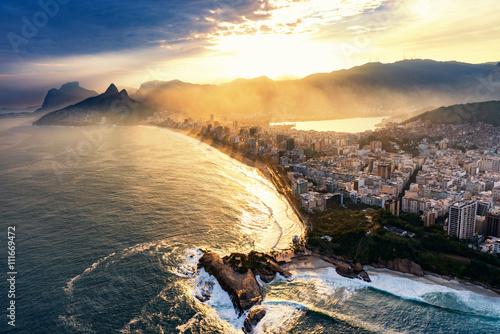 Canvas Print Rio De Janeiro, sunset over Ipanema beach