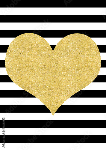Gold glitter effect heart on a black and white striped background ...