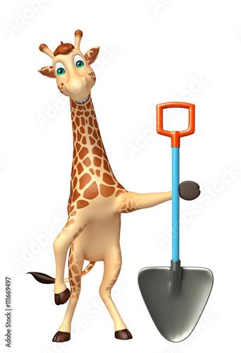 fun Giraffe cartoon character   with shovel Poster