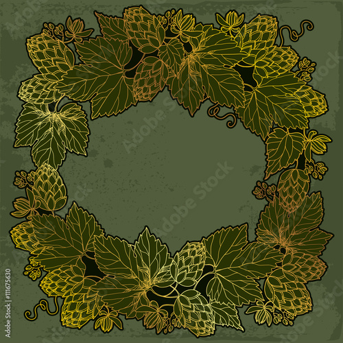 Vector Round Frame With Ornate Hops Or Humulus In Gold On The