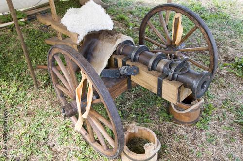 Photo TEWKESBURY, UK - 17 July 2015 : Wood & wrought iron replica muzzle loading canno