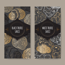 Two Labels For White And Black Truffle Sauce On Lace
