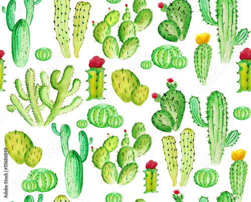 Cotton fabric watelcolor cactus seamless pattern on the white phone