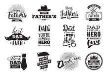 Happy Fathers Day Set. Vector ...