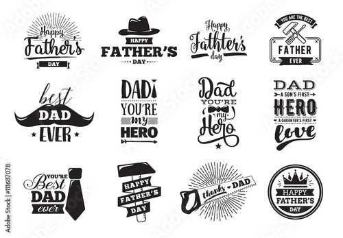 Fotografie, Obraz  Happy fathers day set. Vector typography.