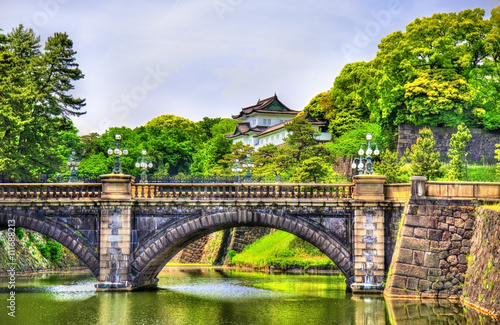 Poster Tokyo Imperial Palace with Nijubashi Bridge in Tokyo